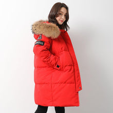 Load image into Gallery viewer, Casual red goose Down coat plus size clothing hooded winter jacket zippered Jackets