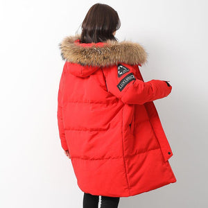 Casual red goose Down coat plus size clothing hooded winter jacket zippered Jackets