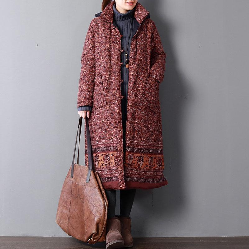 Casual red print women plus size hooded Warm pockets Button cotton coats