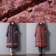 Load image into Gallery viewer, Casual red print women plus size hooded Warm pockets Button cotton coats