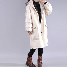 Load image into Gallery viewer, Casual trendy plus size jackets overcoat white hooded pockets women parka