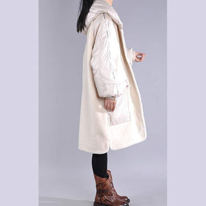 Casual trendy plus size jackets overcoat white hooded pockets women parka