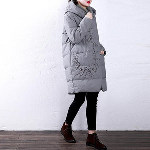 Casual white goose Down coat Loose fitting hoodedYZ-2018111411
