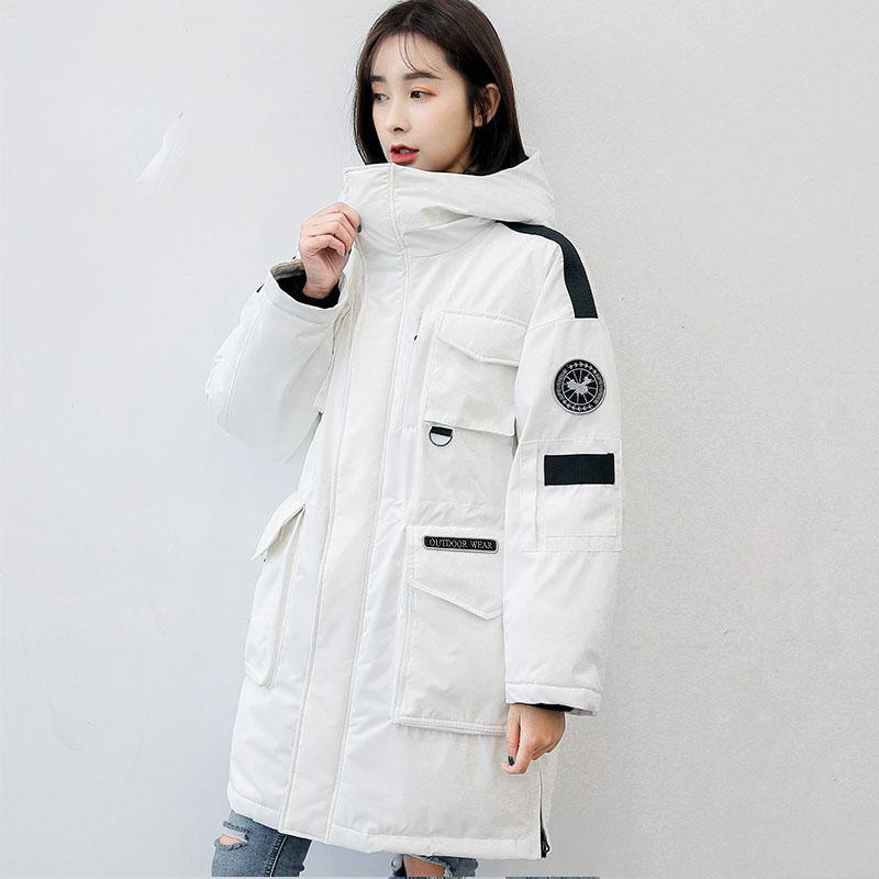 Casual white warm winter coat plus size hooded down jacket big pockets winter outwear