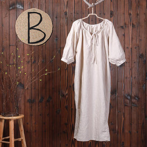 Casual Loose Lacing Embroidery Split Long Dress