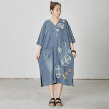 Load image into Gallery viewer, Casual Patchwork Burr Split Denim Dress