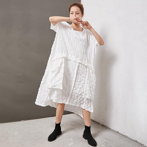 Casual Round Neck Cotton Solid Irregular Dress