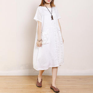 Casual Round Neck Short Sleeve Pockets Dress