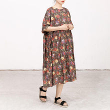 Laden Sie das Bild in den Galerie-Viewer, Casual Short Sleeve Pockets Floral Lacing Pleated Dress