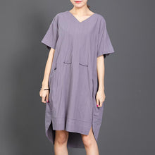 Load image into Gallery viewer, Casual V-Neck Solid Color Drawstring Loose Dress