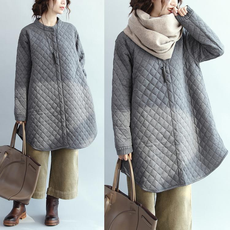 Casual gray down overcoat plus size stand collar down overcoat Casual thin coats