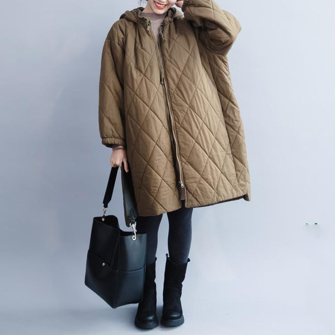 Casual green down jacket oversize hooded Parka Warm zippered winter outwear
