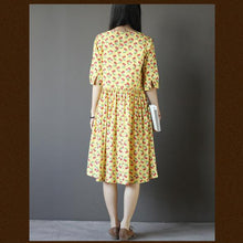 Load image into Gallery viewer, Cherry print sundress fit flare cotton maxi dress in yellow