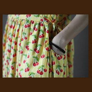 Cherry print sundress fit flare cotton maxi dress in yellow