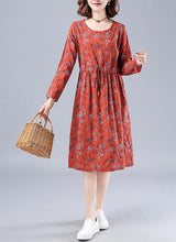 Load image into Gallery viewer, Chic Red Print Wardrobes O Neck Drawstring Loose Spring Dresses