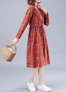 Chic Red Print Wardrobes O Neck Drawstring Loose Spring Dresses