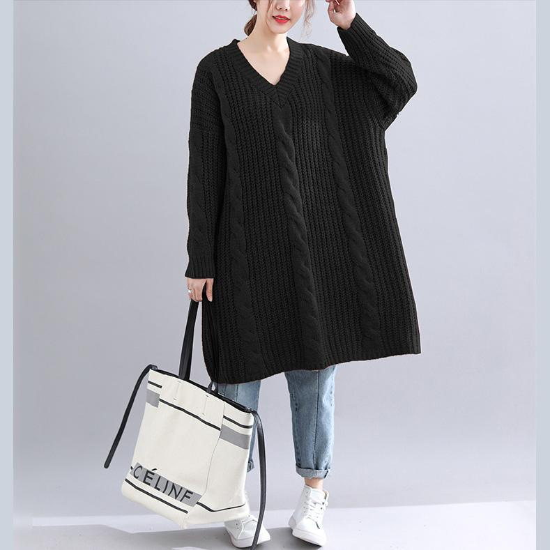 Chic Sweater dress outfit Quotes v neck thick black Big knit dress