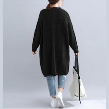 Load image into Gallery viewer, Chic Sweater dress outfit Quotes v neck thick black Big knit dress