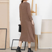 Load image into Gallery viewer, Chic Sweater weather DIY o neck side open khaki striped Fuzzy knit dress spring