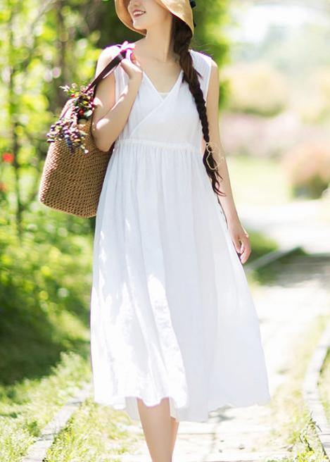 Chic V Neck Sleeveless Summer Clothes Design White Traveling Dress