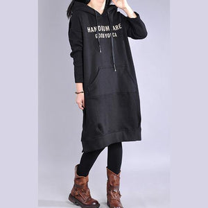 Chic black Cotton clothes hooded patchwork Vestidos De Lino Dresses