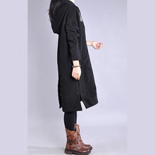Load image into Gallery viewer, Chic black Cotton clothes hooded patchwork Vestidos De Lino Dresses