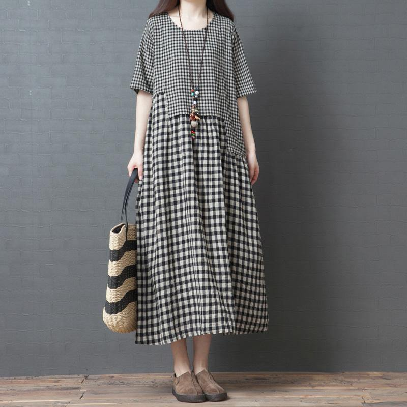 Chic black Plaid cotton dresses pockets patchwork loose summer Dress
