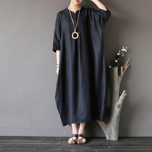 Chic black cotton linen boutique long stand collar Three Quarter sleeve Dress