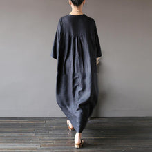 Load image into Gallery viewer, Chic black cotton linen boutique long stand collar Three Quarter sleeve Dress