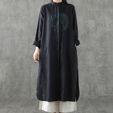 Load image into Gallery viewer, Chic black embroidery linen clothes For Women stand collar patchwork Maxi Dress