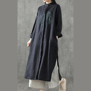 Chic black embroidery linen clothes For Women stand collar patchwork Maxi Dress
