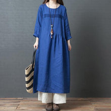 Load image into Gallery viewer, Chic blue linen clothes top quality Work Outfits o neck patchwork Vestidos De Lino  Dresses