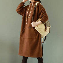 Laden Sie das Bild in den Galerie-Viewer, Chic chocolate cotton box top Fine Tunic hooded pockets daily top