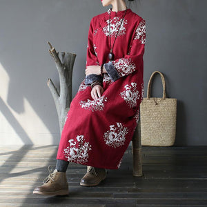 Chic cotton quilting clothes Fine thick Ideas red print stand collar long Dress
