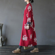 Load image into Gallery viewer, Chic cotton quilting clothes Fine thick Ideas red print stand collar long Dress