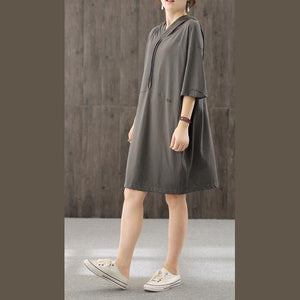 Chic dark gray dresses hooded patchwork Maxi fall Dresses