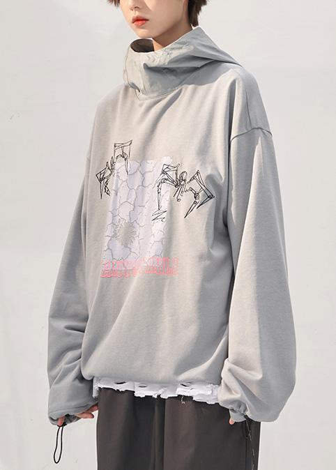 Chic gray prints cotton clothes For Women fall loose patchwork hooded Sweat shirt