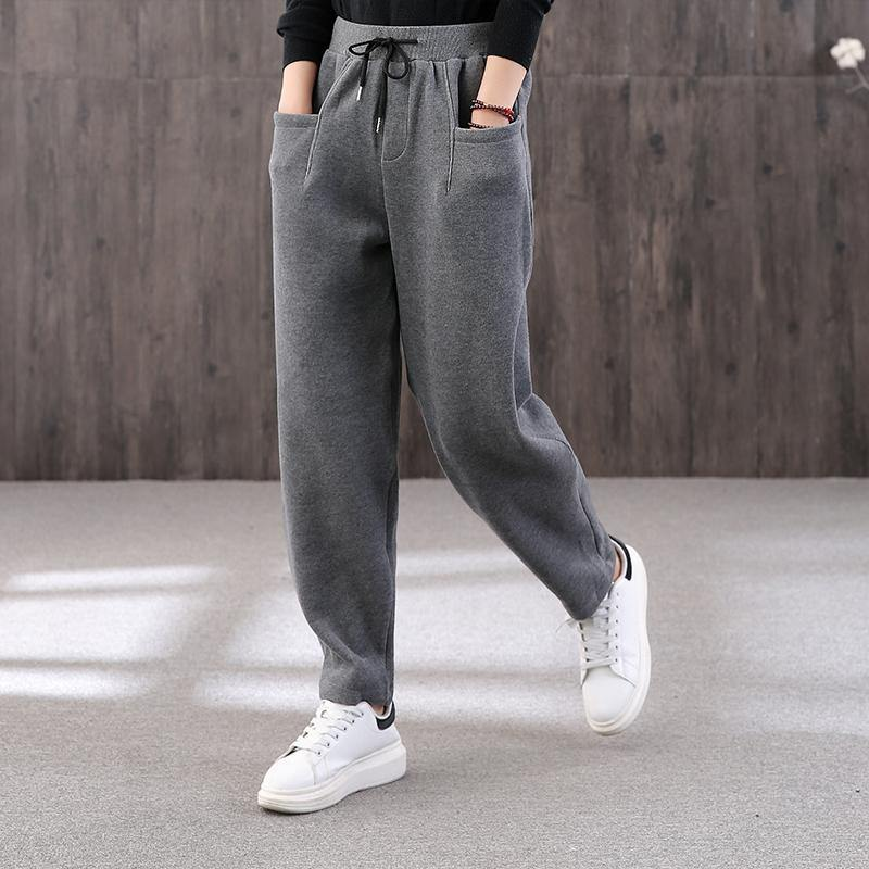 Chic gray ripped Jeans vintage drawstring elastic waist Tutorials trousers