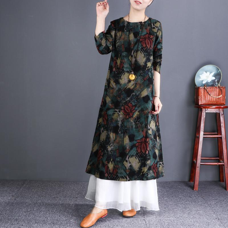 Chic green print cotton linen outfit Pakistani Wardrobes o neck Vestidos De Lino Dress