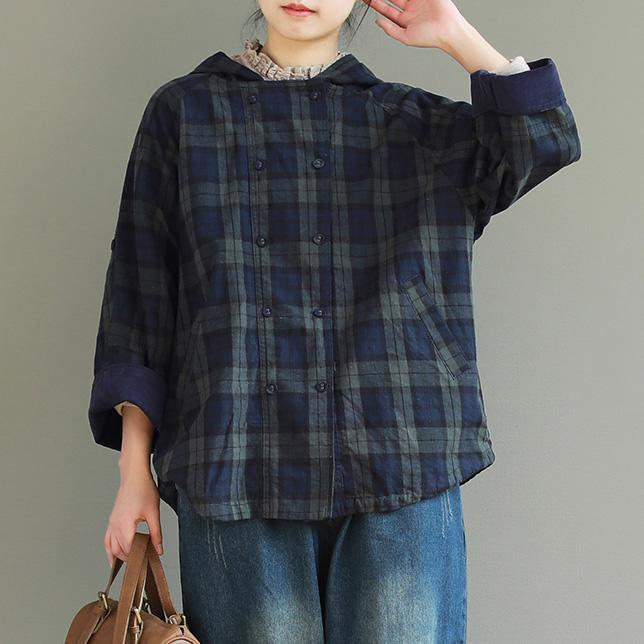Chic hooded double breast linen Blouse Plus Size Inspiration green Plaid cotton blouses
