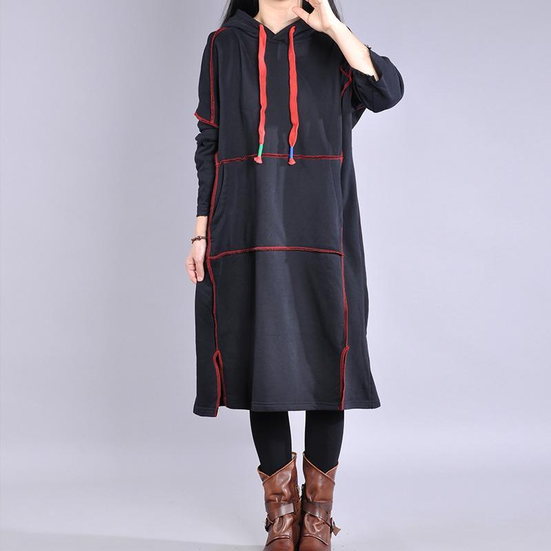 Chic hooded drawstring cotton dress Work black Maxi Dresses