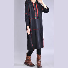 Load image into Gallery viewer, Chic hooded drawstring cotton dress Work black Maxi Dresses