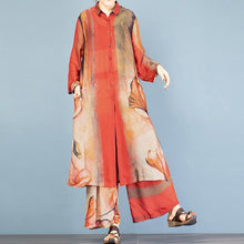 Load image into Gallery viewer, Chic lapel cardigan + vintage wide leg pants red print two pieces