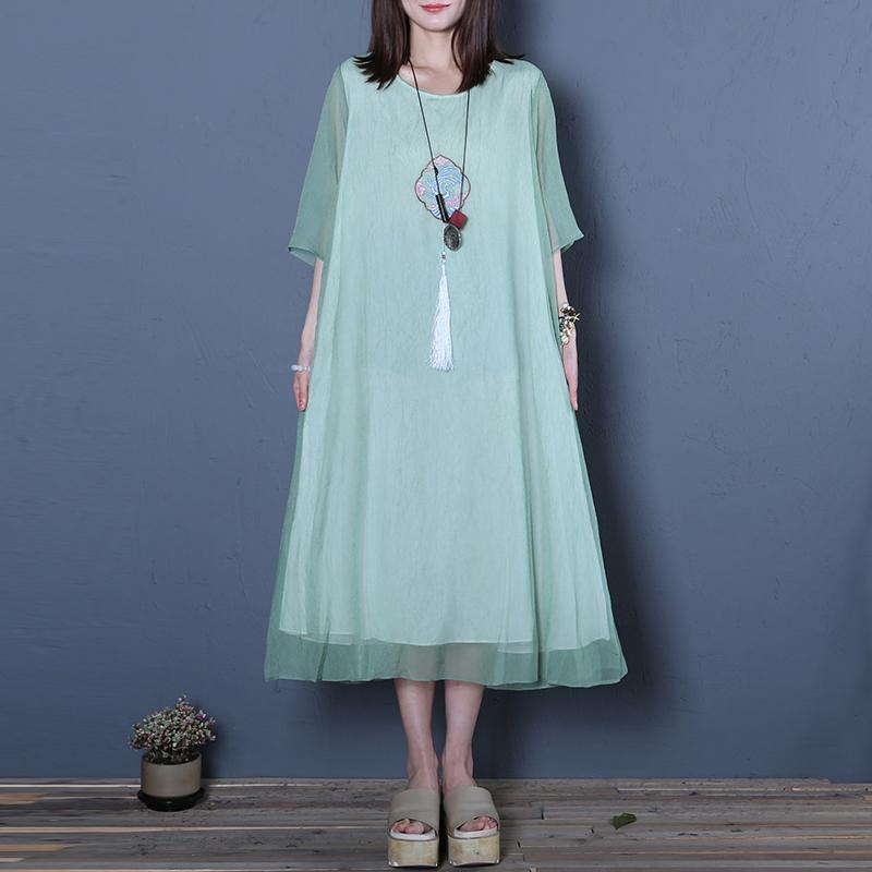 Chic light green organza clothes For Women Plus Size o neck false two pieces Art Summer Dresses