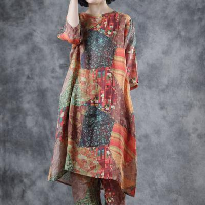 Chic linen clothes For Women top quality Half Sleeve Printed Round Neck Blouse