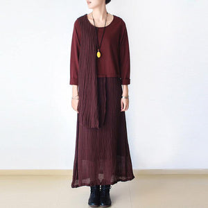 Chic linen dresses 18th Century o neck asymmetric Life burgundy Kaftan Dress