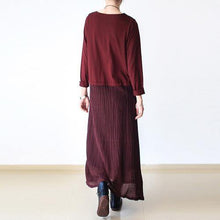 Load image into Gallery viewer, Chic linen dresses 18th Century o neck asymmetric Life burgundy Kaftan Dress