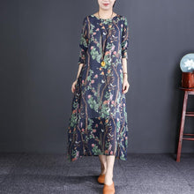Laden Sie das Bild in den Galerie-Viewer, Chic navy print cotton clothes For Women Metropolitan Museum Photography o neck A Line spring Dress