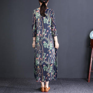 Chic navy print cotton clothes For Women Metropolitan Museum Photography o neck A Line spring Dress