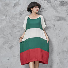 Laden Sie das Bild in den Galerie-Viewer, Chic o neck Cotton quilting dresses Shape patchwork short sleeve Dress loose waist summer